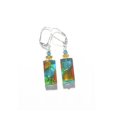 Murano Glass Topaz Aqua Rectangle Silver Earrings, Italian Jewelry JKC Murano