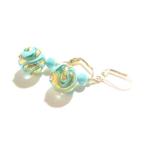 Murano Glass Aqua Turquoise Exposed Gold Earrings