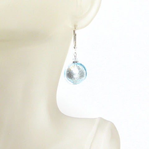 Murano Glass Aquamarine Disc Silver Earrings, Sterling Silver Leverback Earrings