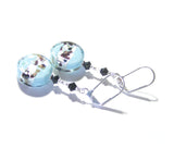Murano Glass Aquamarine Leopard Coin Sterling Silver Earrings JKC Murano