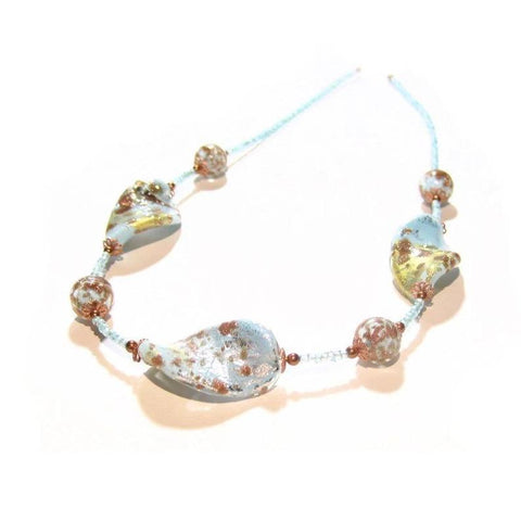 Murano Glass Turquoise Copper Large Twist Sterling Silver Necklace