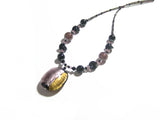 Murano Glass Purple Black Large Pendant Sterling Silver Necklace JKC Murano