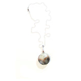 Murano Glass Black Filigrana Fenicio Disc Pendant Necklace JKC Murano
