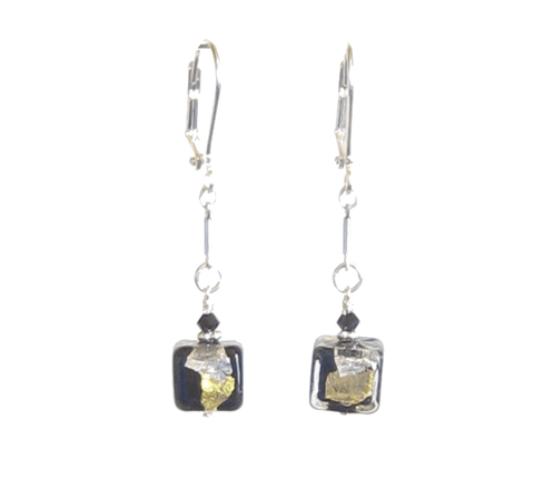 Murano Glass Black Cube Gold Silver Earrings, Clip-ons, Leverbacks JKC Murano