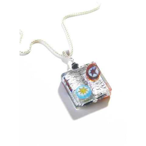 Murano Glass Black Millefiori Square Pendant Sterling Silver Necklace JKC Murano