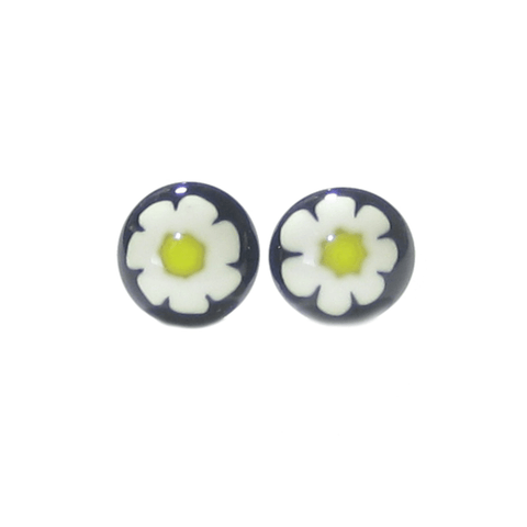 Murano Glass Black Millefiori Daisy Sterling Post Stud Earrings - JKC Murano