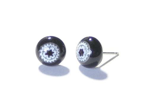 Murano Glass Millefiori Black Sterling Silver Post Stud Earrings JKC Murano