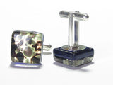 Murano Glass Black Green Gold Square Cuff Links JKC Murano
