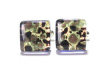 Murano Glass Black Green Gold Square Cuff Links - JKC Murano