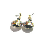 Large Italian Glass Black Klimt Disc Gold Earrings JKC Murano