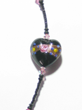 Murano Glass Pink Rose Black Heart Bracelet JKC Murano