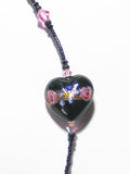 Murano Glass Pink Rose Black Heart Bracelet - JKC Murano