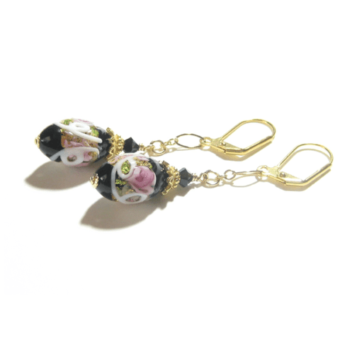 Murano Glass Pink Roses Black Oval Gold Earrings JKC Murano