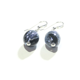 Murano Glass Black Blue Dichroic Oval Sterling Silver Earrings - JKC Murano