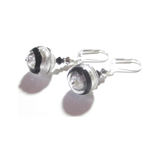 Murano Glass Black Silver Saturn Ball Silver Earrings