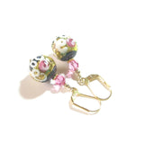 Murano Glass Pink Roses Black Wedding Cake Gold Earrings JKC Murano