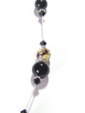 Murano Glass Black White Curved Tube Sterling Silver Necklace JKC Murano