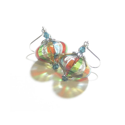 Murano Blown Glass Colorful Stripes Cipollina Earrings