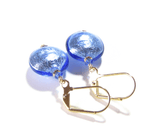 Murano Glass Blue Disc Gold Earrings by JKC Murano - JKC Murano