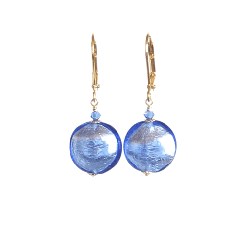 Murano Glass Blue Disc Gold Earrings by JKC Murano