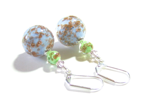 Murano Glass Blue Green Ball Silver Earrings, leverbacks JKC Murano