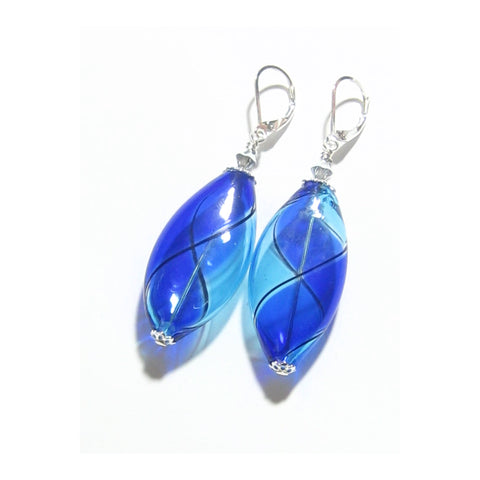 Murano Blown Glass Bicolor Cobalt Blue Aqua Long Argyle Earrings JKC Murano