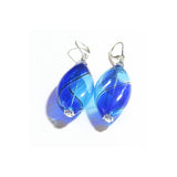 Murano Blown Glass Bicolor Cobalt Blue Aqua Long Argyle Earrings - JKC Murano