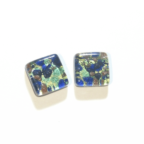 Murano Glass Cobalt Blue Aqua Gold Silver Square Cuff Links JKC Murano