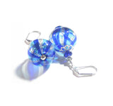 Murano Blown Glass Blue Aqua Nugget Round Ball Earrings JKC Murano