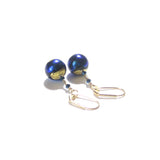 Blue Black Dichroic Gold Earrings, Murano Glass Jewelry JKC Murano