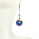 Blue Black Dichroic Gold Earrings, Murano Glass Jewelry - JKC Murano