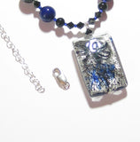 Murano Glass Cobalt Blue and Black Pendant Silver Necklace JKC Murano