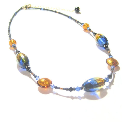 Murano Glass Blue Topaz Oval Bead Gold Necklace by JKC Murano