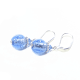 Murano Glass Pale Blue Bubble Ball Earrings - JKC Murano