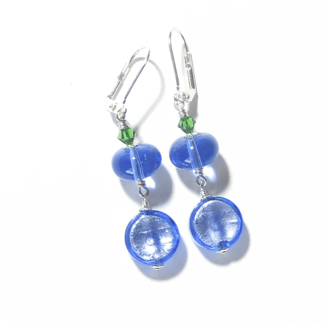 Murano Glass Blue Green Coin Dangle Silver Earrings by JKC Murano