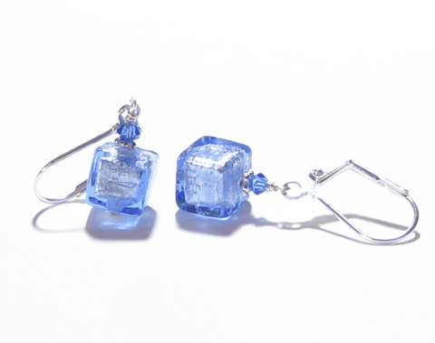 Murano Glass Blue Cube Silver Earrings JKC Murano