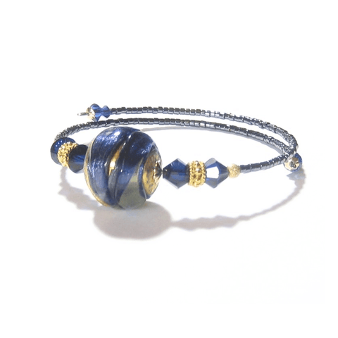 Murano Blue Gold Bangle Bracelet, Venetian Jewelry JKC Murano