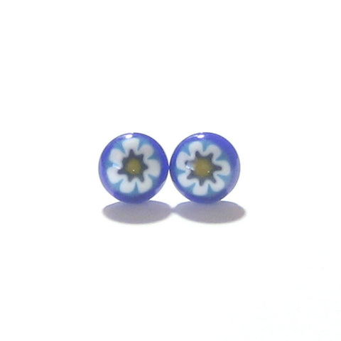 Murano Blue Millefiori Sterling Silver Post Stud Earrings