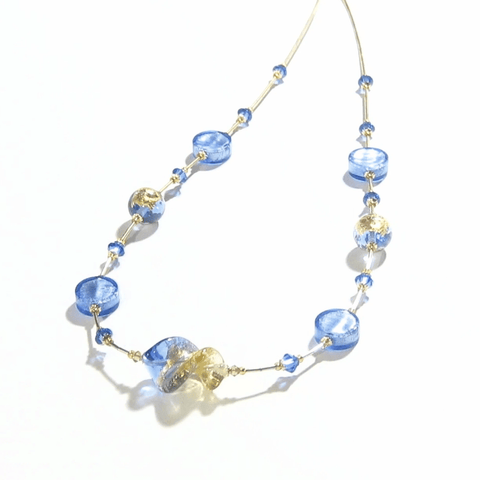 Murano Glass Blue Twist Gold Necklace by JKC Murano