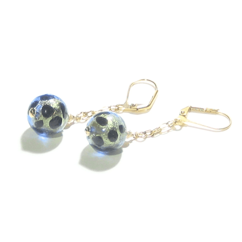 Murano Glass Blue Green Leopard Gold Earrings - JKC Murano