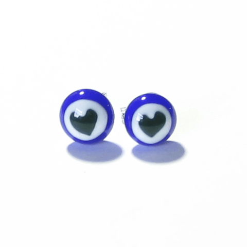 Murano Blue Heart Millefiori Sterling Silver Post Stud Earrings