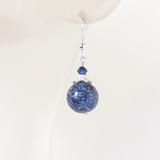 Murano Glass Navy Blue Ball Silver Earrings, Venetian Jewelry