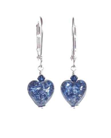 Murano Glass Small Blue Heart Silver Earrings JKC Murano