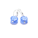 Murano Glass Blue Millefiori Coin Silver Earrings - JKC Murano - 6