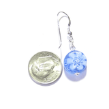 Murano Glass Blue Millefiori Coin Silver Earrings - JKC Murano - 5