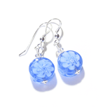 Murano Glass Blue Millefiori Coin Silver Earrings - JKC Murano - 1