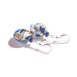 Colorful Murano Glass Blue Copper Disc Silver Earrings JKC Murano