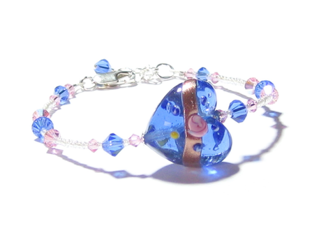 Murano Glass Pink Rose Blue Heart Bracelet JKC Murano