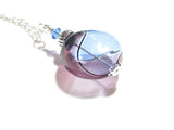 Murano Blown Glass Blue Purple Argyle Disc Silver Pendant JKC Murano