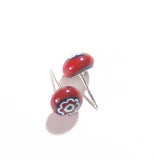 Murano Red Blue Millefiori Sterling Post Earrings, Studs JKC Murano